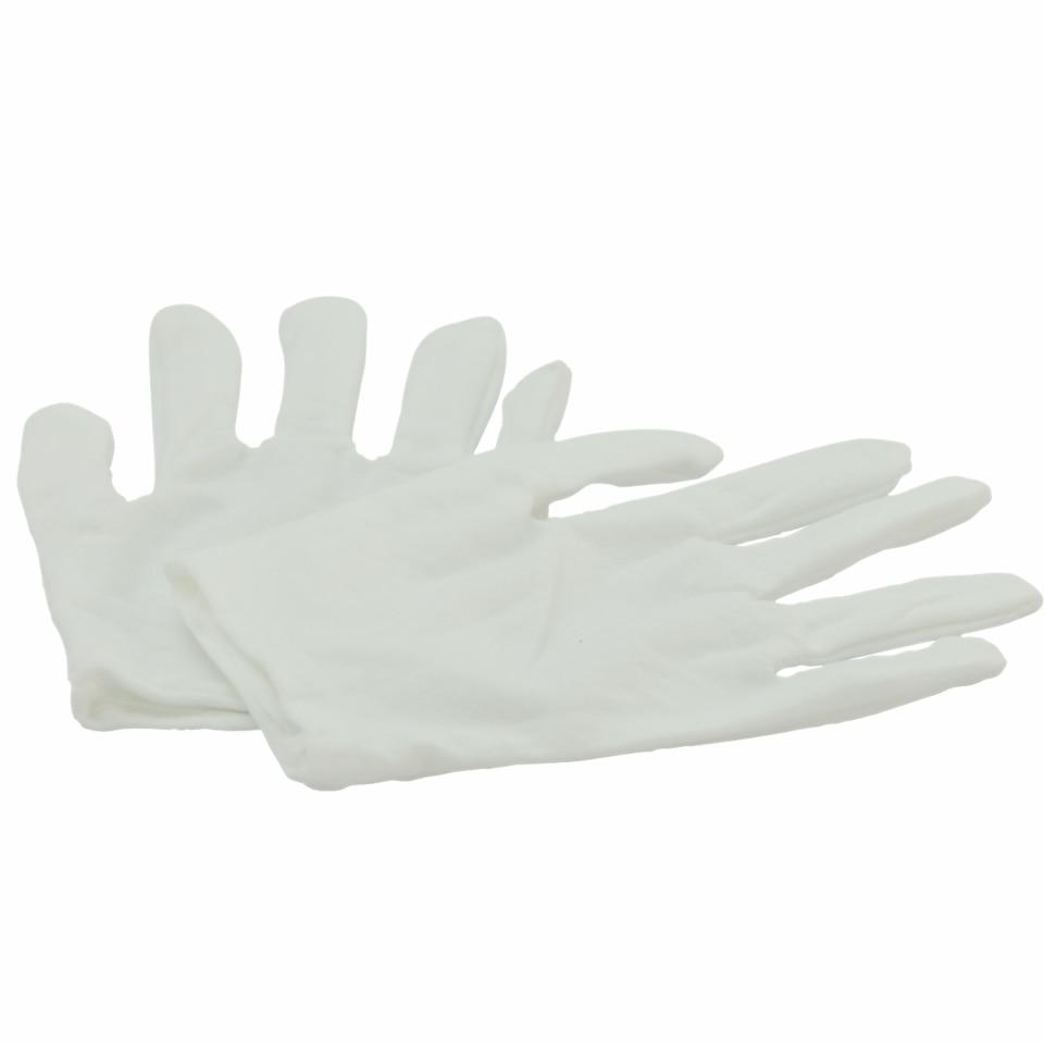 12 par/lote de guantes blancos hechos de algodón puro trabajo de algodón fino etiqueta recepción desfile actuaciones de guantes