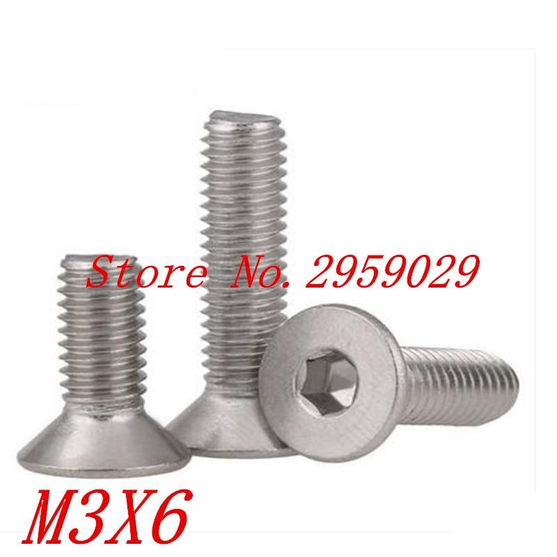 1000 Uds DIN7991 M3 * 6 M3 x 6mm acero inoxidable 304 tornillo de la máquina de cabeza avellanada