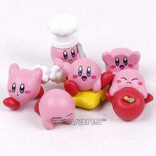 Anime de dibujos animados lindo Kirby Mini figuras de PVC de juguete con colgantes llavero 6 unids/set 4cm