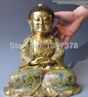 Shitou 00295 100% bronce puro con Cloisonne 24K oro Gild Sakyamuni estatua de Buda Tathagata