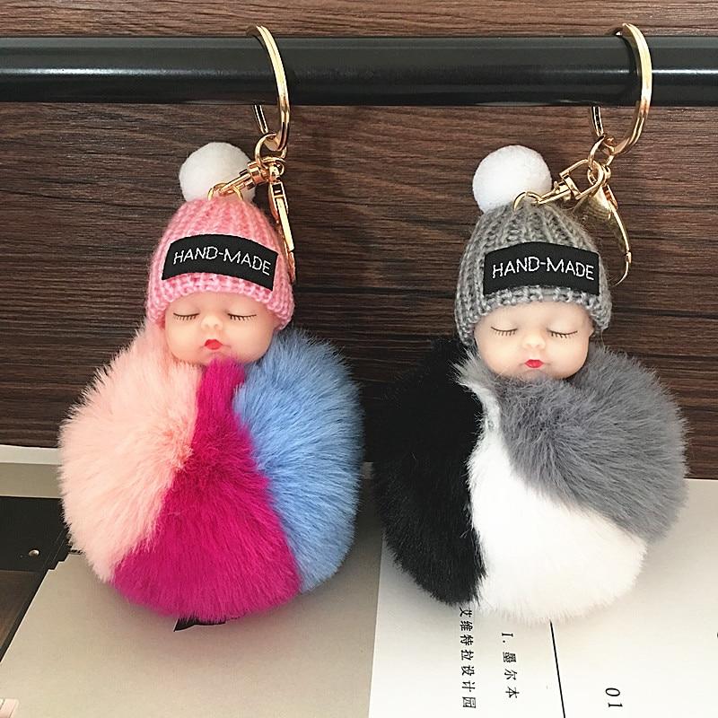 2019 Cute Sleeping Baby Doll Keychain Faux Pompom Rabbit Fur Ball plush KeyChain Keyring Women Key Holder Bag Pendant toy