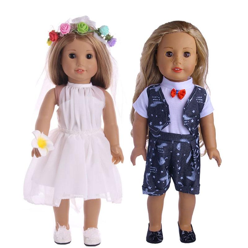 Doll accessories,White wedding dress skirt suit fit for 18 inch  Doll,Children best Birthday Gift