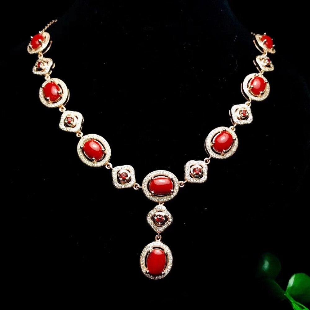 Natürliche rote koralle edelstein Anhänger halskette S925 silber Natürlichen edelstein halskette Luxus Blume wolken frauen hochzeit schmuck