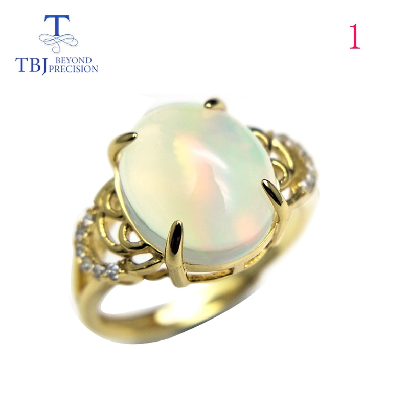 TBJ ، جودة التنوع الاثيوبية أوبال البيضاوي 10*12 مللي متر 3ct حتى خاتم أحجار كريمة ملونة الطبيعية في 925 فضة للنساء مع صندوق