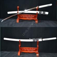 Échantillon épée de samouris japonais   Damas KATANA en acier plié, saya blanche en bois dur à lame, épée personnalisée