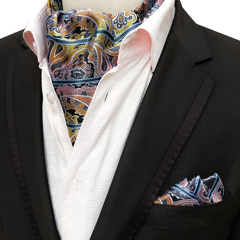 Yishline quente masculino seda ascot gravata conjunto homem gravata cravat conjunto lenço floral paisley pontos bolso quadrado conjunto homem acessórios