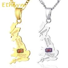 Ethlyn grande bretagne carte pendentif & 45 cm/60 cm collier, couleur or angleterre pays carte bijoux P23