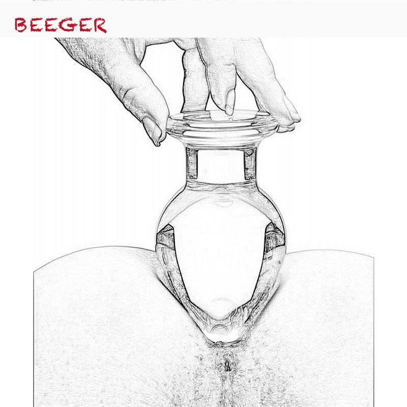 BEEGER Breite Glas Butt Plug, 50mm Große kristall butt plug vagina ball, große pyrex glas anal dildo perle