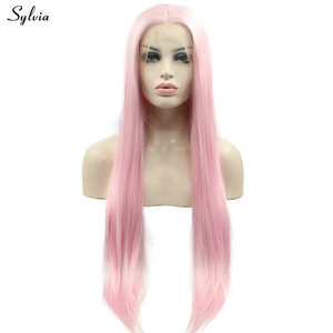 Sylvia Natural Hairline Baby Pink Wig Summer Cool Color High Temperature Silky Straight Synthetic Lace Front Wigs for Lady Party