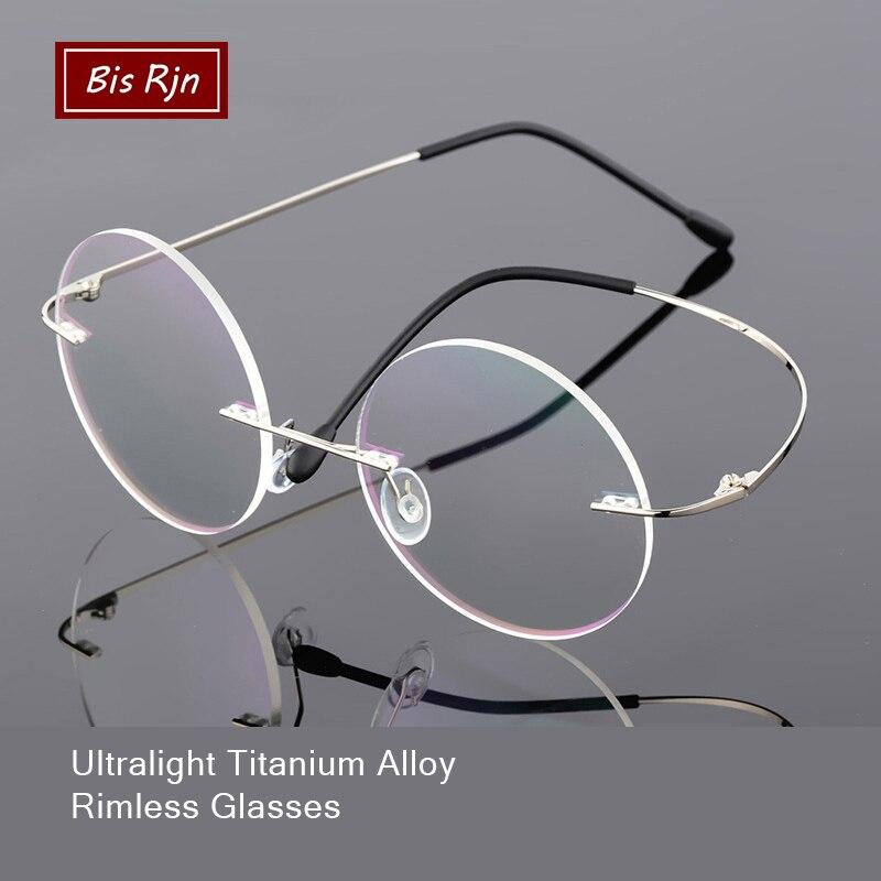 Flexible Memory Titanium Round Folding Rimless Glasses Frame Women Men Computer Optical Glasses Clear Lens Z10