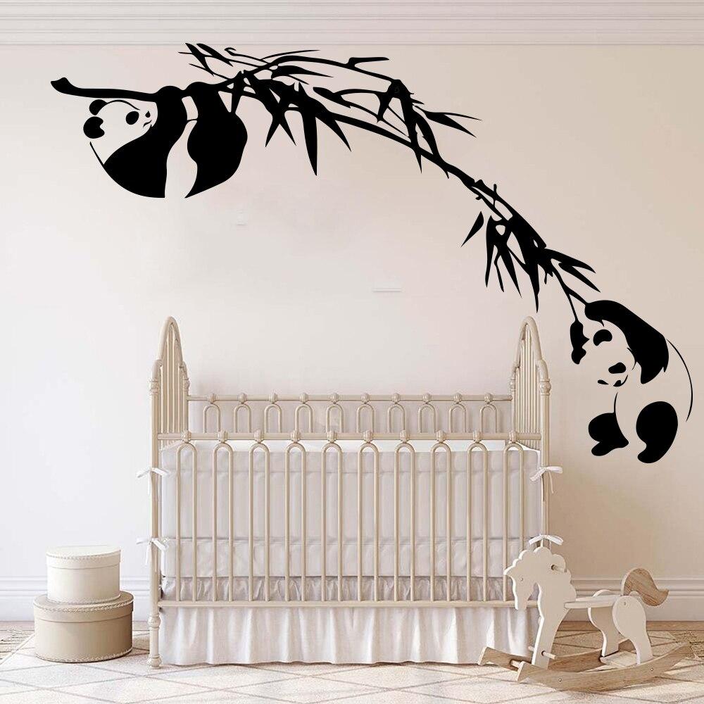 Panda de bambú de rama de árbol pared calcomanías niños habitación Bebé vivero Asia bosque de animales de la selva Panda pegatinas de pared dormitorio compañeros de piso