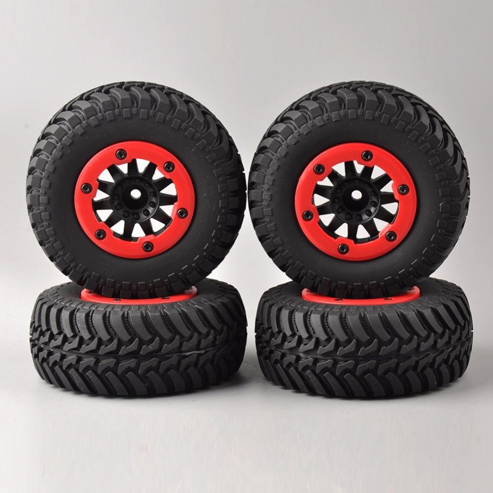 Купить с кэшбэком 4 pcs/set RC car 1:10 short course truck tires set tyre wheel rim fit for TRAXXAS SlASH HPI remote control car model toy parts