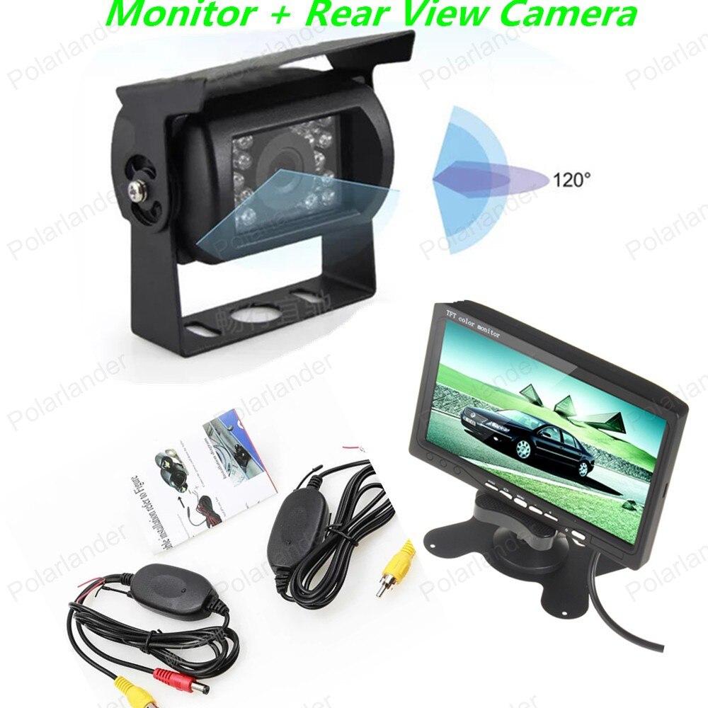 Gratis shippingTFT LCD Kleur Scherm Monitor7 Inch + Auto Achteruitrijcamera 18LED voor bus truck parking