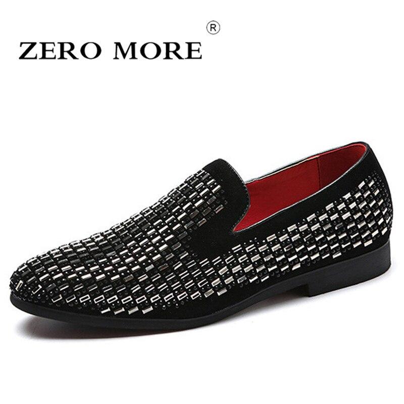 ZERO MORE Slip On zapatos de hombre Casual suave lentejuelas rectángulo remache puntiagudos mocasines de hombre mocasines de moda tallas grandes