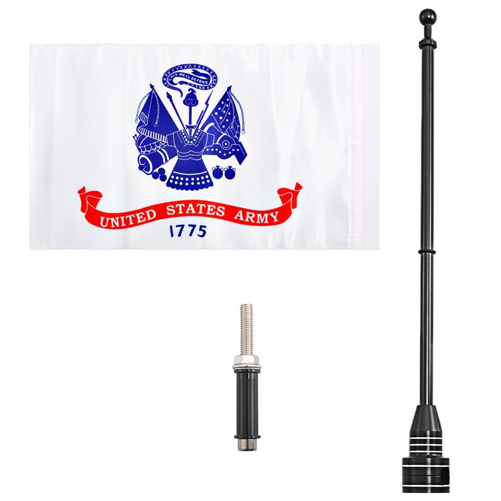 Porte-bagages pour drapeau de larmée américaine   Drapeau de moto, pôle de drapeau Vertical, mât noir adapté aux boulons Harley de 8MM