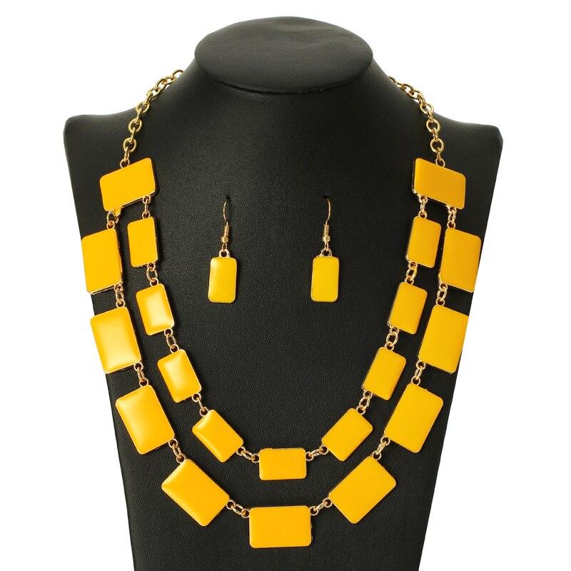 Jóias de casamento esmalte contas amarelas borla exagerada gargantilha colar brincos conjunto multi-camada corrente jóias acessórios