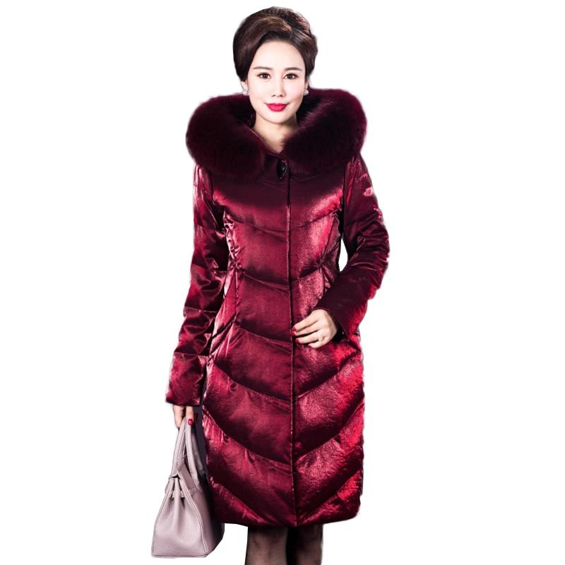 Chaqueta de invierno de alta calidad para mujer Parka abrigo elegante chaqueta de plumón largo talla grande chaqueta con capucha de plumón de pato para mujer NW1068