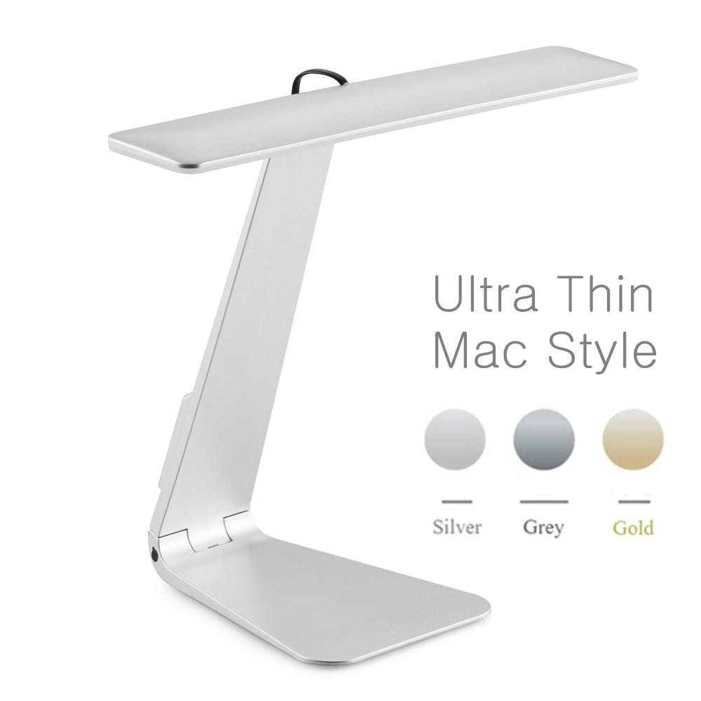 Ультратонкая настольная лампа Mac с 3 режимами затемнения, светодиодная настольная лампа для чтения, мягкая защита глаз, ночник, складная пер...