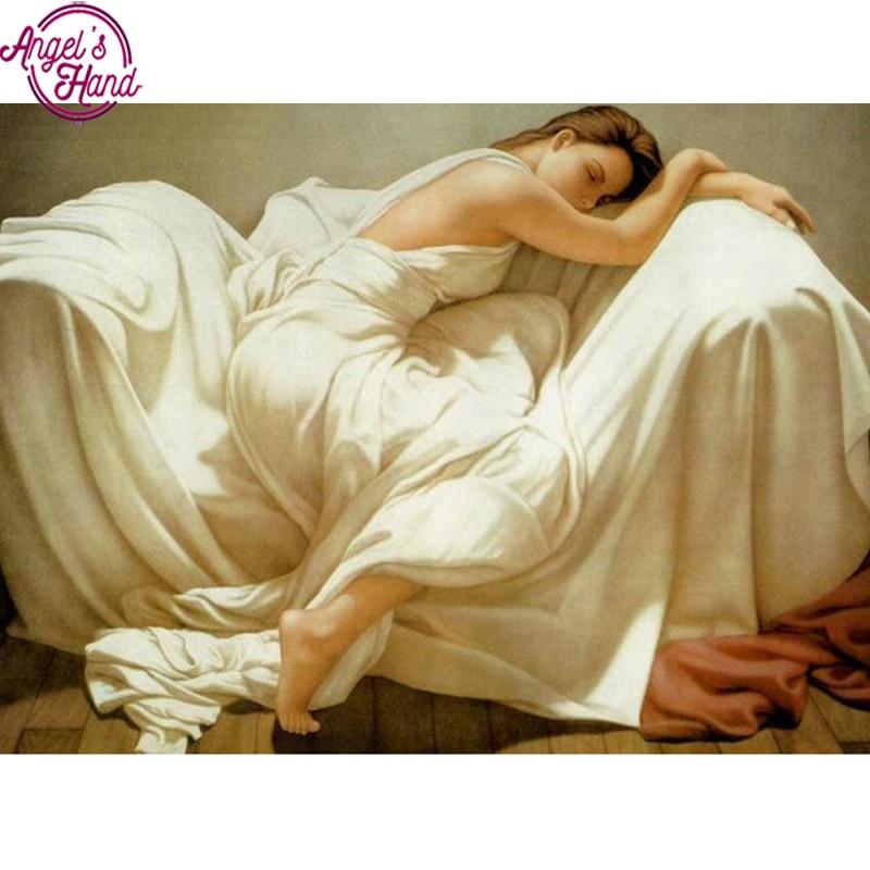 Mosaico de diamantes Diy, bordado de diamantes, bella durmiente, cuadro con imagen de pegar pedrería, pintura de diamantes completa para mujer