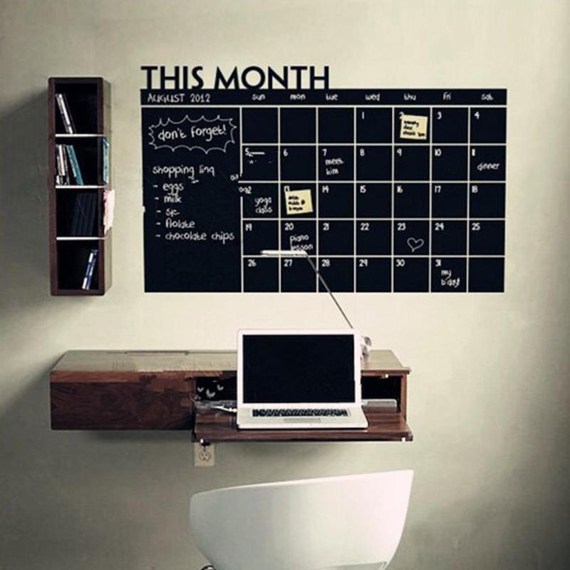 Pegatina de pizarra para pared DIY, calendario para la Oficina y el hogar, Calendario para meses, pizarra, notas para mensajes, Deco, herramienta de educación temprana, suministros escolares