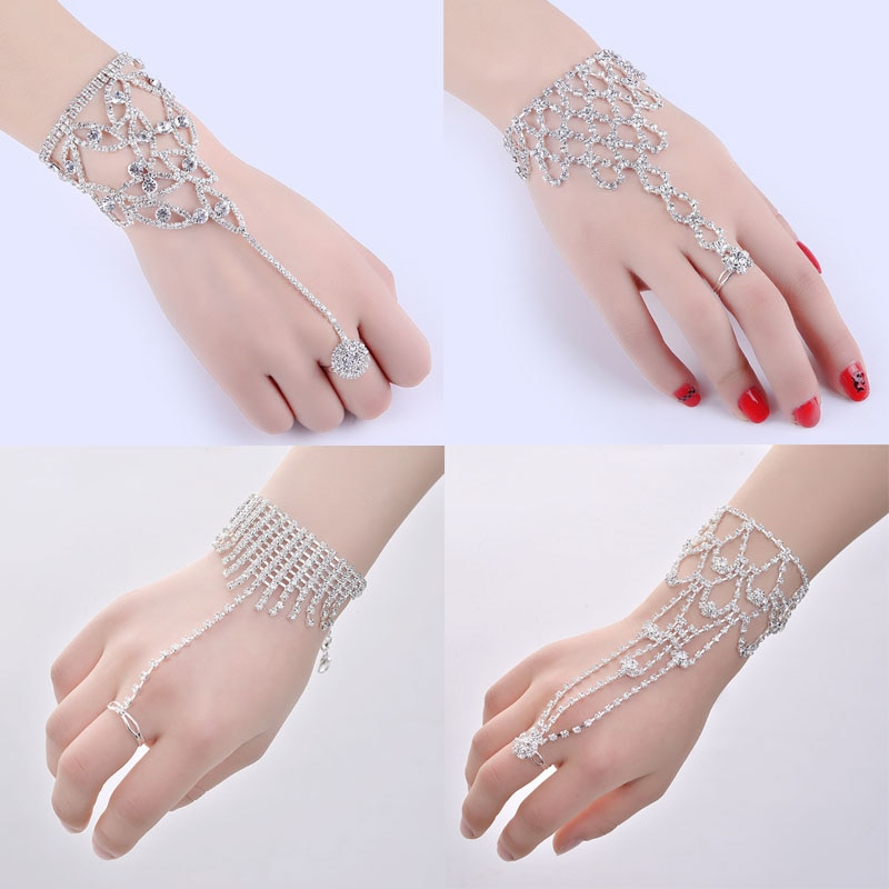 Браслеты с кристаллами для женщин и девушек, браслет ручной работы, соединенный с кольцом на пальце, браслет с цепочкой для помолвки, свадебной вечеринки