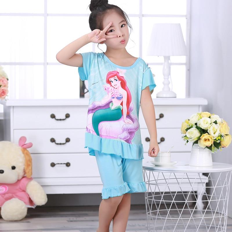 Ropa de dormir de princesa Elsa de Disney, Pantalón de pijama + top de pijama, ropa de casa de verano, traje de camisón de Frozen para niño y niña