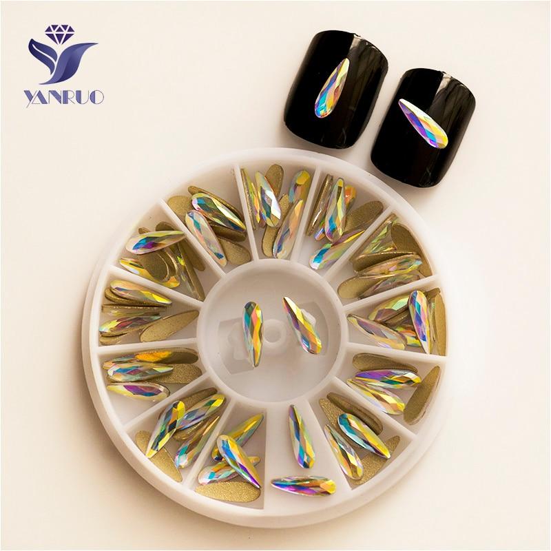 YANRUO 2538NoHF AB 2x6mm 3x10mm gota de agua no Hotfix de cristal de vidrio pegamento en diamantes de imitación Flatback suministros de diamantes de imitación para uñas