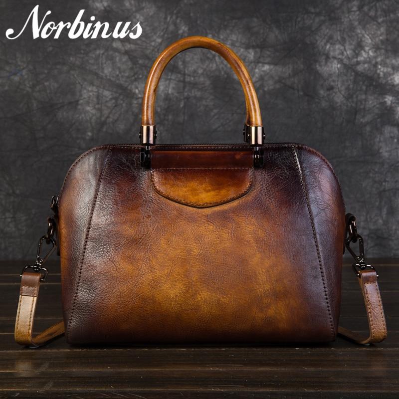 Norbinus نساء جلد طبيعي حقيبة ساعي جلد البقر Crossbody حقائب بيد علوية الإناث خمر حقيبة يد جلدية حقيبة كتف حقائب