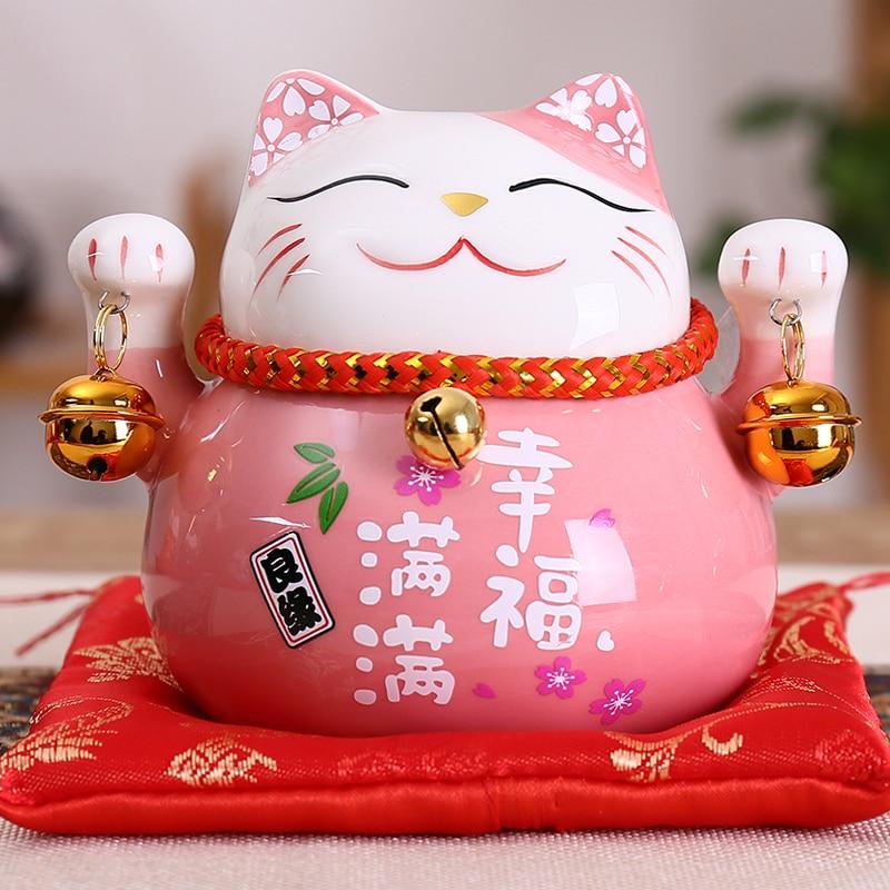 4.5 inch Ceramic Maneki Neko Statue Lucky Cat Money Box Fortune Colored Cat Piggy Bank Home Decoration Gift Feng Shui