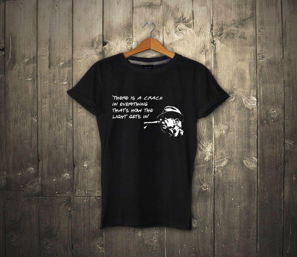 2020 nova marca de verão t camisa dos homens hip hop camisa masculina casual aptidão leonard cohen citação camiseta há uma rachadura em tudo