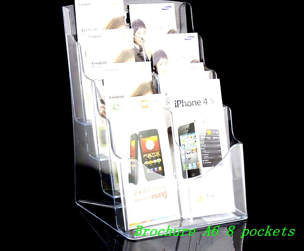 Clear Eight Pockets Plastic Acrylic Brochure Literature Pamphlet Display Holder Racks Stand To Insert Leaflet 12pcs