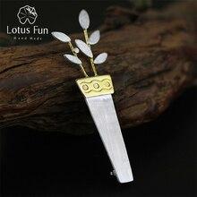 Lotus Plezier Echte 925 Sterling Zilver Designer Handgemaakte Fijne Sieraden Mode Unieke Ingemaakte Bloem Vrouwen Broches Broche Pin Badge