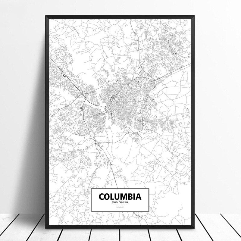 Póster de COLUMBIA, CAROLINA del Sur, Estados Unidos, negro, blanco, personalizado, mapa de ciudades del mundo, impresión en lienzo, arte de pared de estilo nórdico, decoración del hogar
