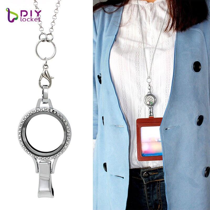 Moda diymedalhão strass cordão titular lockets vidro magnético flutuante charme cordão medalhão LSFL035-1