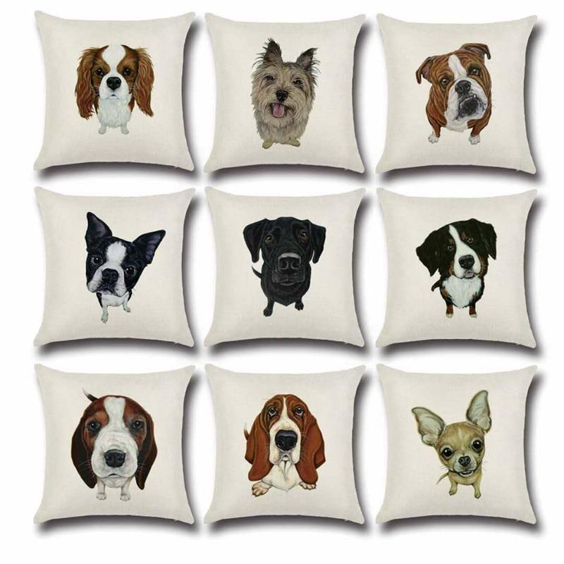 SBB Cartoon sketch dog series cute linen cushion cover Printed Throw Pillows Cases Home Sofa Car Decor Chair Waist Pad  45x45cm