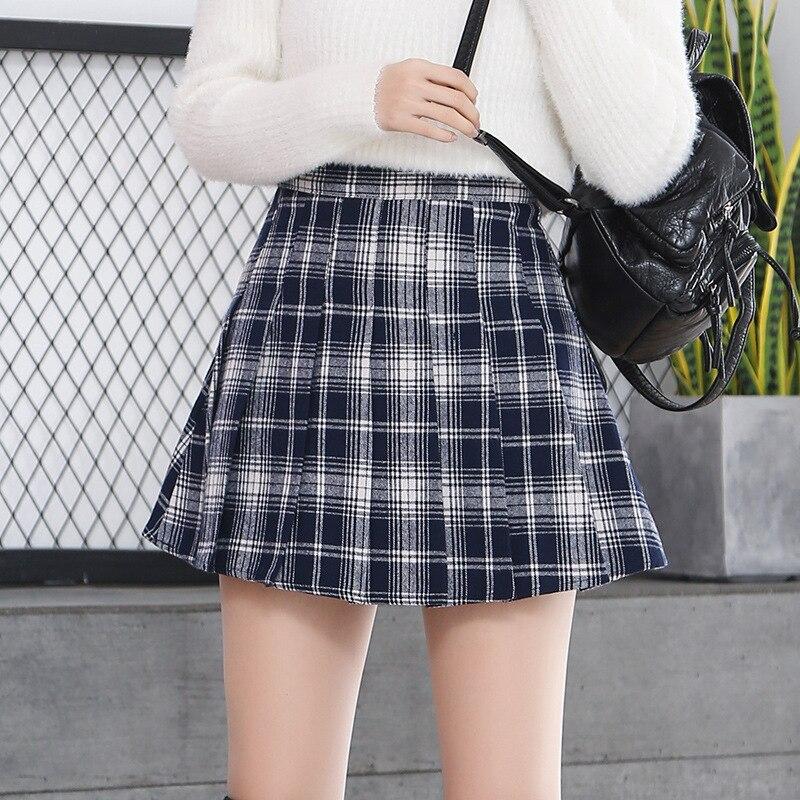 Faldas kawaii Harajuku Tumblr Korean Schoolgirl de talla grande Micro falda colegial japonés estilo Plaid Mini faldas mujeres verano 2019