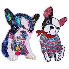 Animal mignon grand Patch chien brodé fer sur des patchs de bande dessinée pour vêtements Badge autocollants tissu bricolage Sequin Applique pour T-shirt
