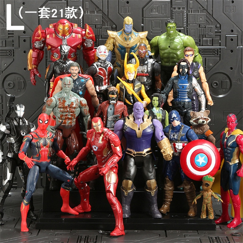 21Pcs/Set SaleMarvel Avengers Figure Super Heroes SpiderMan Black Panther Hulk Captain America Thor Iron Man PVC Action