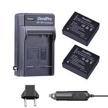 DuraPro 2 pc DMW-BLG10 DMW BLG10 BLG10 batterie + chargeur de voiture + prise EU pour Panasonic LUMIX GF5 GF6 GX7 LX100 GX80, GX85, d-lux
