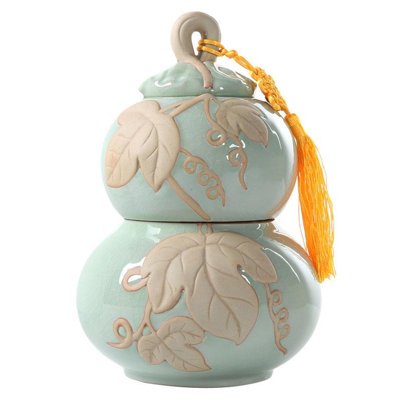 صندوق شاي من السيراميك على شكل قرع صيني ، حاويات تخزين الشاي ، جرة بورسلين ، مسحوق قهوة