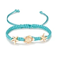 new fashion hand woven starfish turtle anklets korean wax line rope foot chain ankle bracelets for women accessories