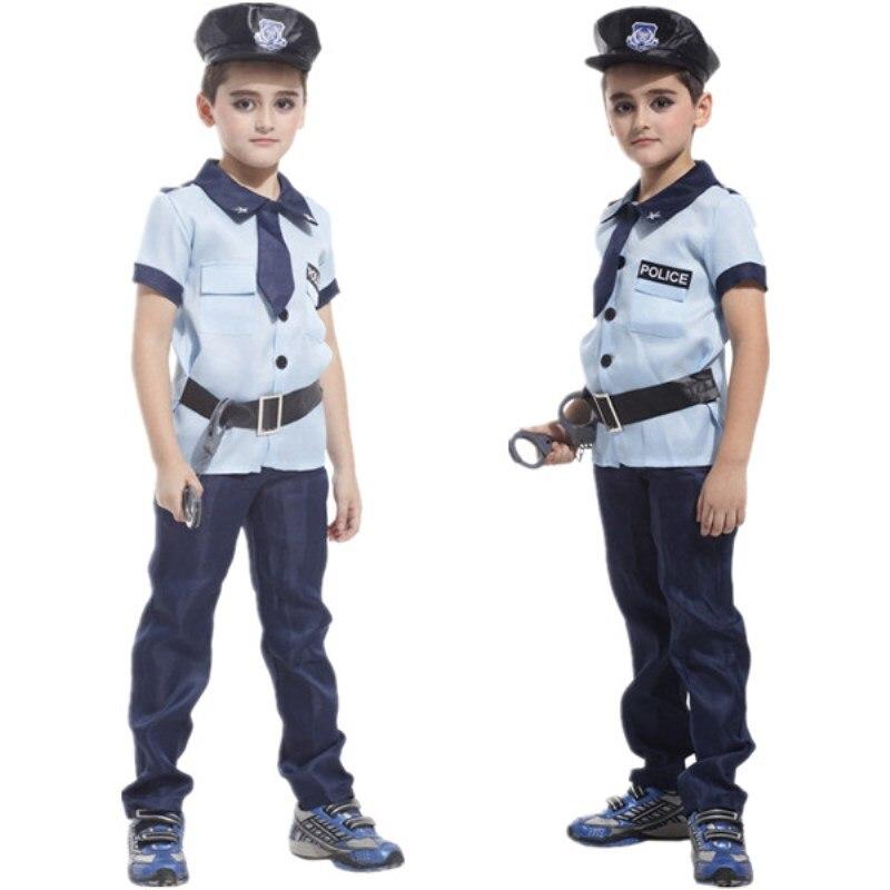 Crianças Meninos Policial Traje Da Polícia de Natal Carnaval Halloween Party Fancy Dress Crianças Traje Cosplay Roupas
