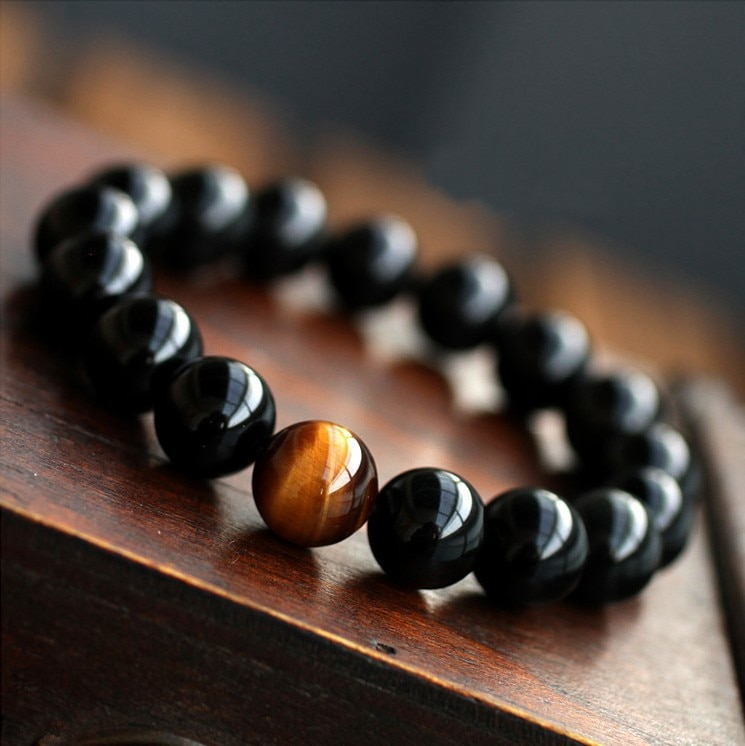 Мужской браслет из натурального черного оникса с тигром и камнями, мужской браслет с 12 созвездиями Leo, браслет для любителей энергии