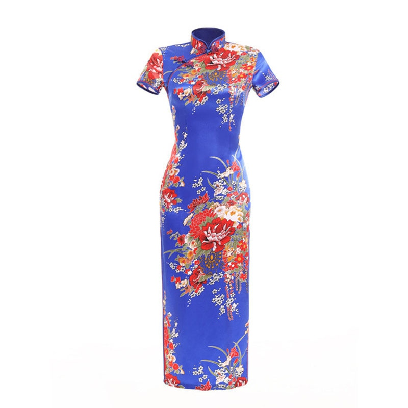 Vestido de noche chino para mujer, Qipao de satén con cuello mandarín, vestidos de fiesta con estampado Floral de talla grande 6XL, Cheongsam de manga larga para mujer