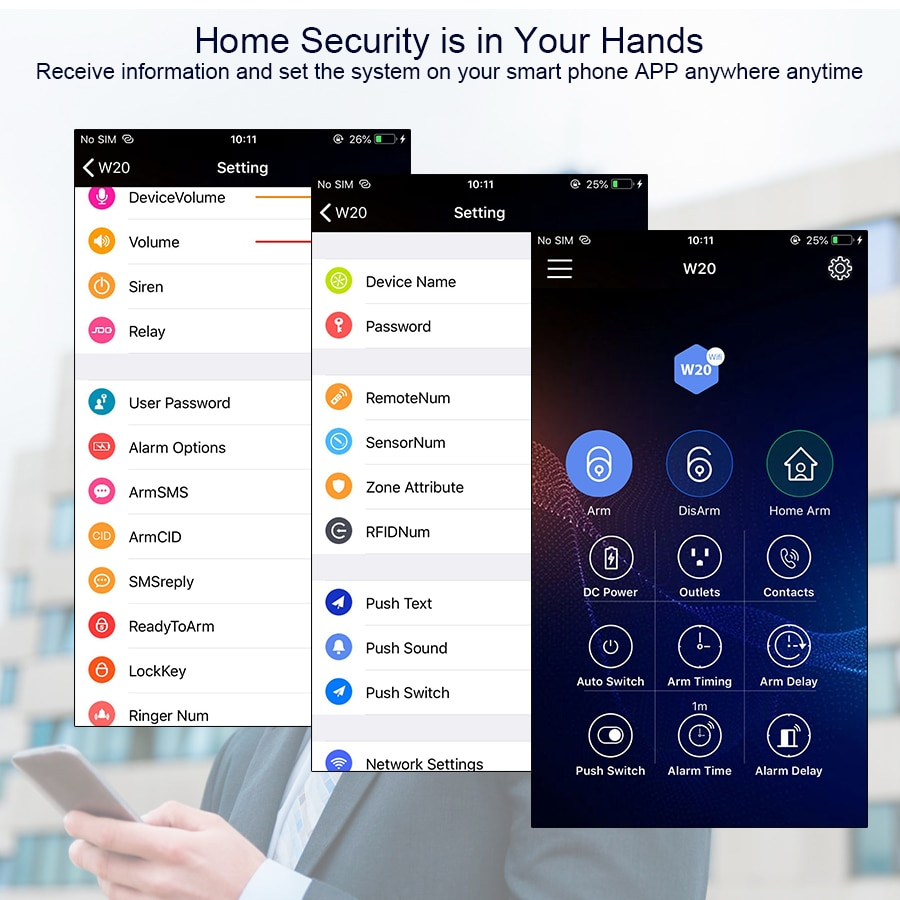 KERUI 433MHZ W20 touch screen Wireless Home Security Alarm System Alarm Kit Support Chinese English Russian West German Italian enlarge
