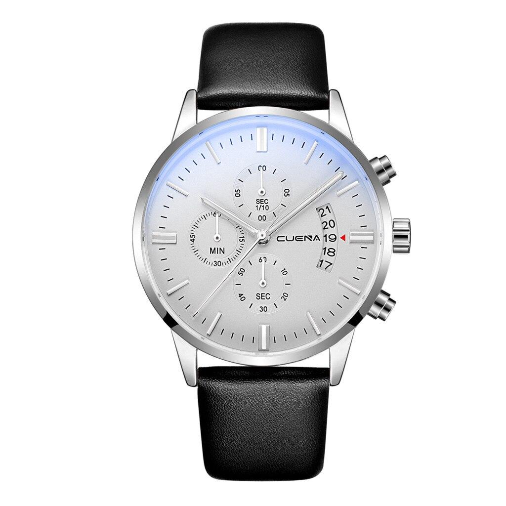CUENA Fashion Simple Brand Men Watches Leather Strap Bracelet Business Pin Buckle Mens Clock Quartz Wrist Watches reloj hombre