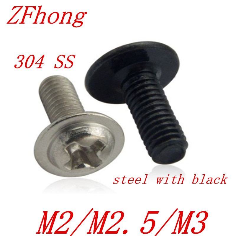 50 Uds M2 M2.5 M3 tornillo de cabeza redonda Phillips de acero inoxidable para máquina con tornillo de precisión