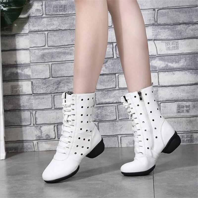Genuínos para Mulheres de Couro Sapatos de Dança de Alta Botas de Dança Sapatos de Caminhada Oco para Mulheres ao ar Botas Fundo Macio Respirável Livre Ocasionais