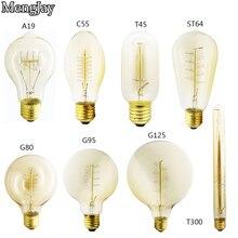 Лампа Эдисона MengJay E27 220V 40W C55 ST64 ST58 A19 T10 T185 T225 T300 G80 G95 G125, лампа накаливания в стиле ретро