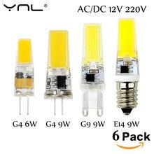 6 PCS/Lot G4 lampe à LED 220 V COB LED E14 ampoule 6 W 9 W LED COB lumière Dimmable 360 faisceau Angle lustre lumières remplacer halogène